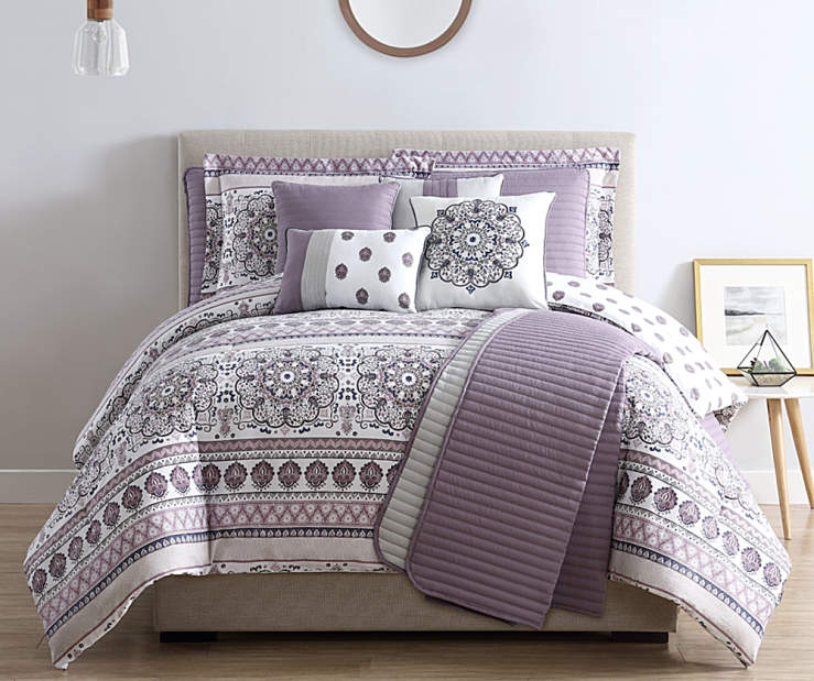 Gray and Lilac Medallion King 10 Piece Reversible Comforter and Quilt Set lifestyle