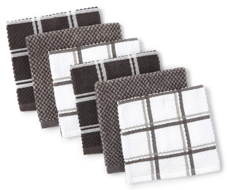 Gray and Plaid Cotton Dish Cloth 6 Pack Fanned Silo