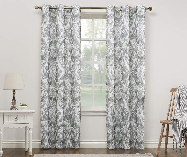 Gray and Sage Madagascar Montego Grommet Curtain Panel 84 Inches On Window Room Environment Lifestyle Image