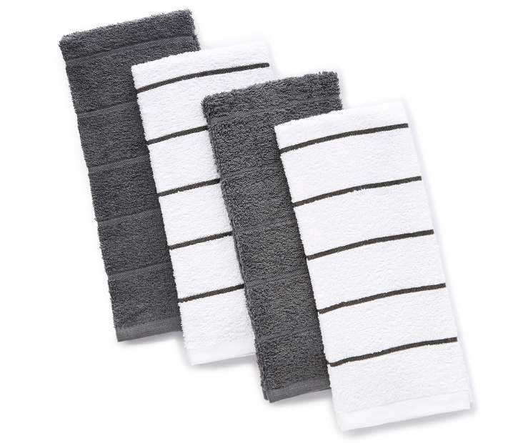 Gray and White Cotton Kitchen Towels 4-Pack Silo