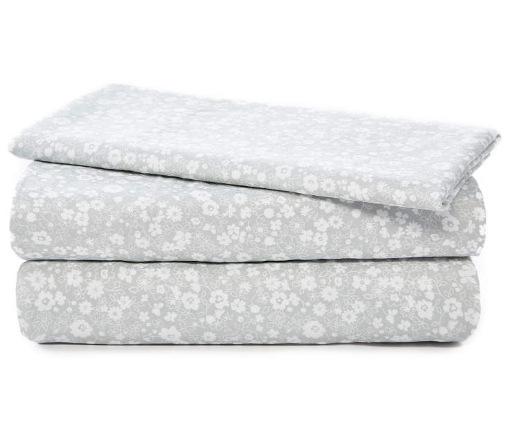 Gray and White Floral Microfiber 3 Piece Twin Sheet Set Stacked and Folded Silo Image