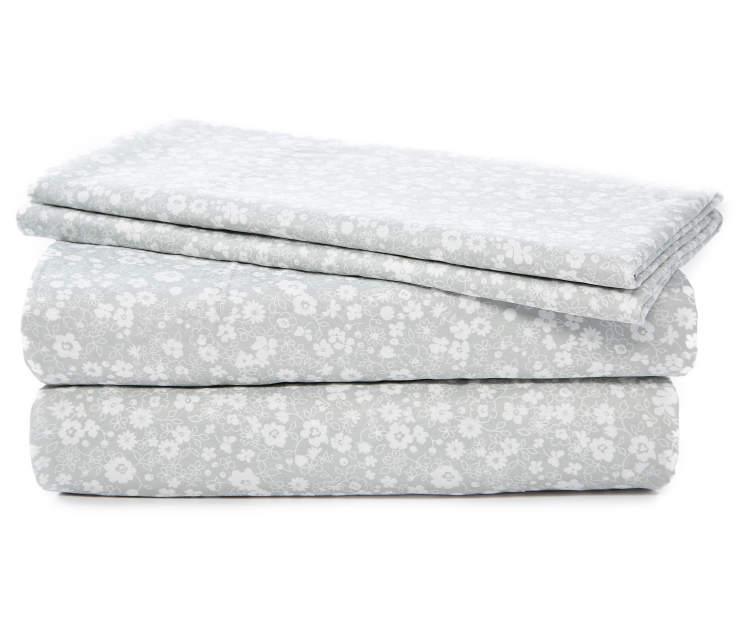 Gray and White Floral Microfiber 4 Piece Queen Sheet Set Stacked and Folded Silo Image