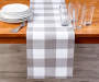 Gray and White Gingham Plaid Table Runner 13 inches by 72 inches Lifestyle Image Dining Table