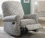 Gray and White Scroll Swivel Glider Recliner lifestyle
