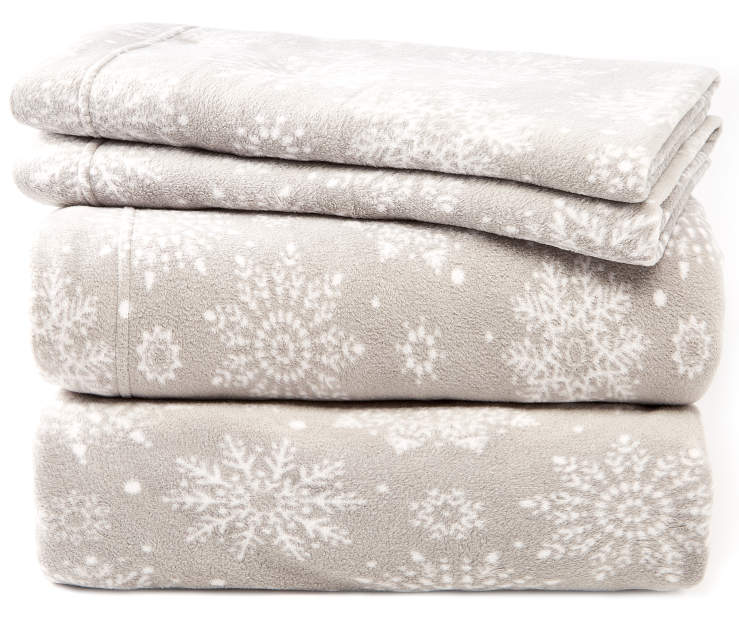 Gray and White Snowflakes Full 4-Piece Fleece Sheet Set Silo Image Folded and Stacked