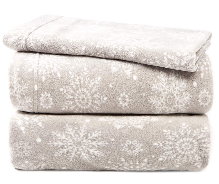 Gray and White Snowflakes Twin 3-Piece Fleece Sheet Set Silo Image Folded and Stacked