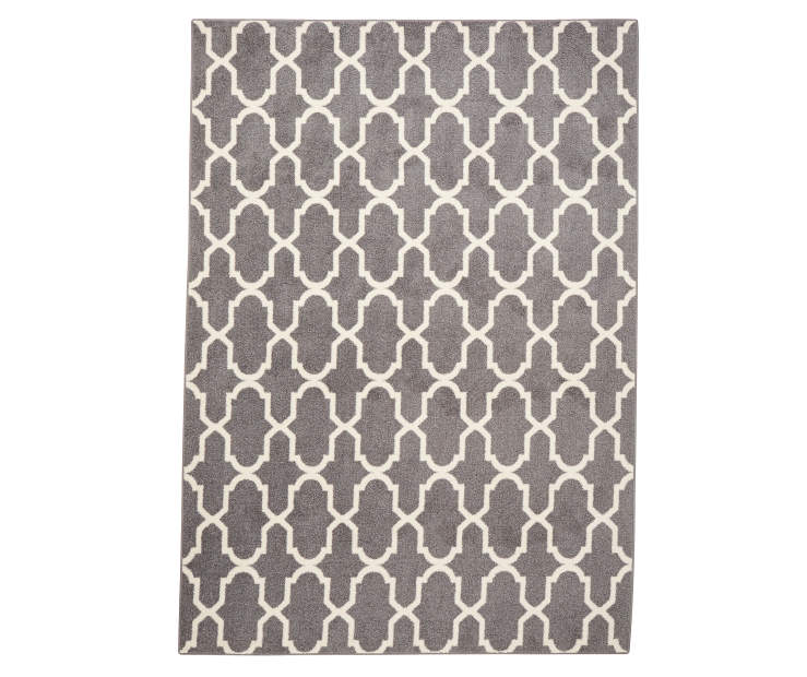 Gray and White Textured Lattice Area Rug 7 Feet by 10 Feet Overhead View Silo Image