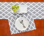 Gray and White Tile Placemat and Table Runner with Plates and Decor Overhead View Lifestyle Image