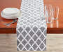 Gray and White Tile Table Runner 13 Inches by 72 Inches on Table with Decor Lifestyle Image