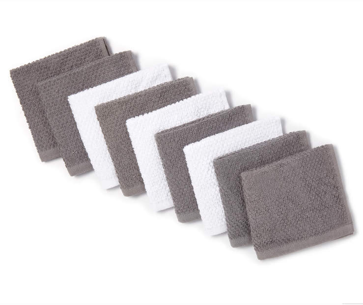 Gray and White Wash Cloths 9 Pack Silo Folded
