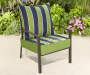 Green Cabana Stripe Outdoor Deep Seat and Back Cushions 2 Piece Set lifestyle