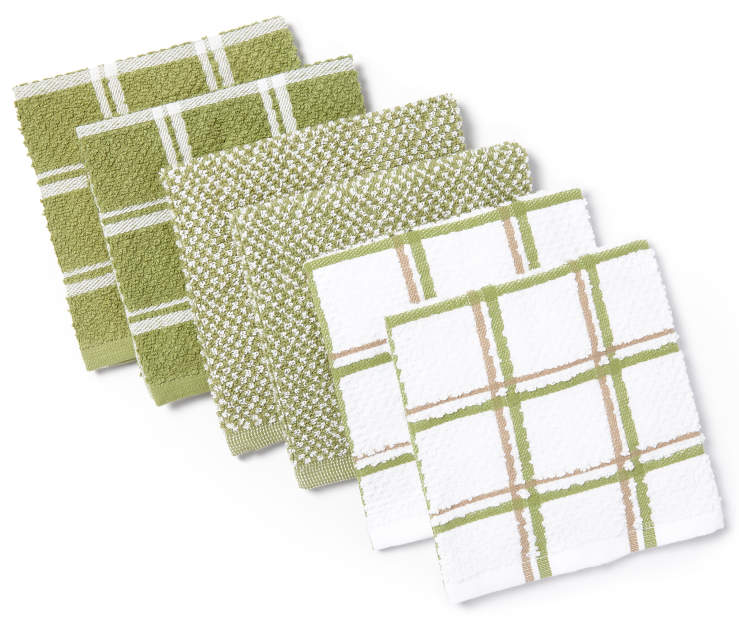 Green Cotton Dish Cloths 6-Pack Silo