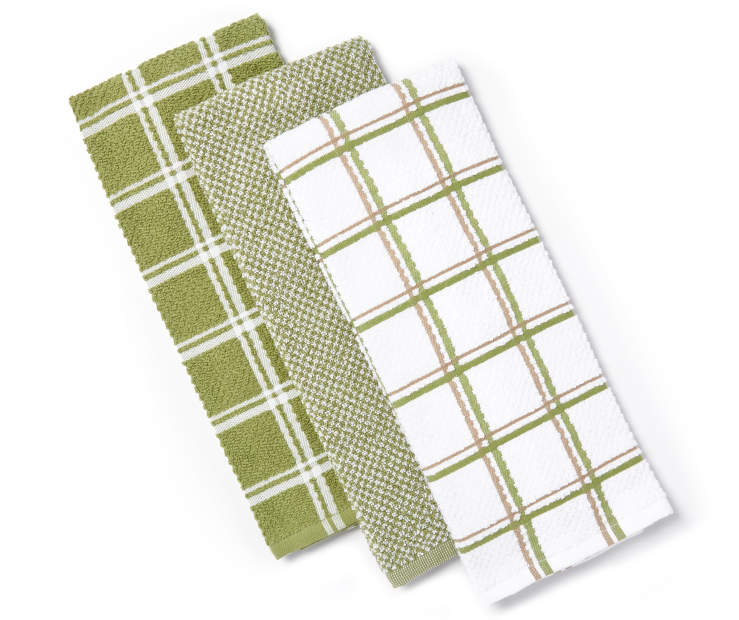 Green Cotton Kitchen Towels 3-Pack Silo