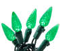 Green Crystallized C6 LED Light Set with Green Wire 60 Count silo front