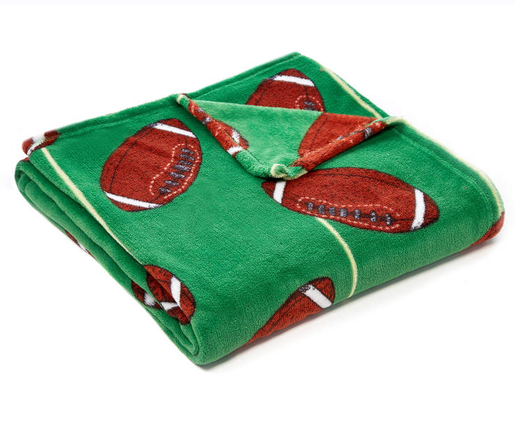 Green Football Soft Throw silo angled