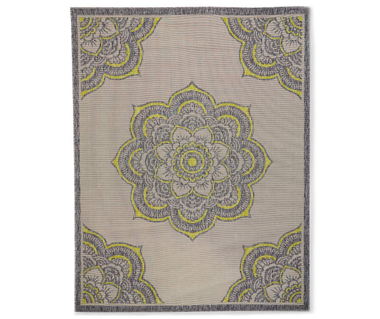 Green Medallion Indoor Outdoor Area Rug 7 feet 10 inches by 9 feet 10 inches Silo Overhead VIew
