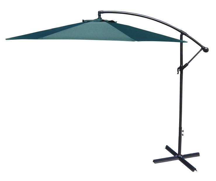 Green Offset Patio Umbrella 10 Feet with Hand Crank Side View Silo Image