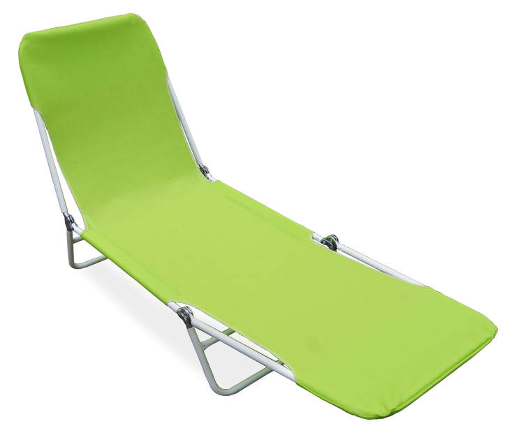 Green Sling Folding Lounger silo top angled
