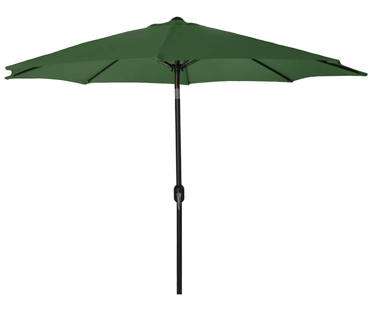 Green Steel Market Patio Umbrella 7.5 Feet with Hand Crank Front View Silo Image