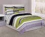Green and Black Stripe Full 8 Piece Comforter Set on Bed Room View
