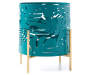 Green and Gold Metal Hurricane Candle Holder silo front