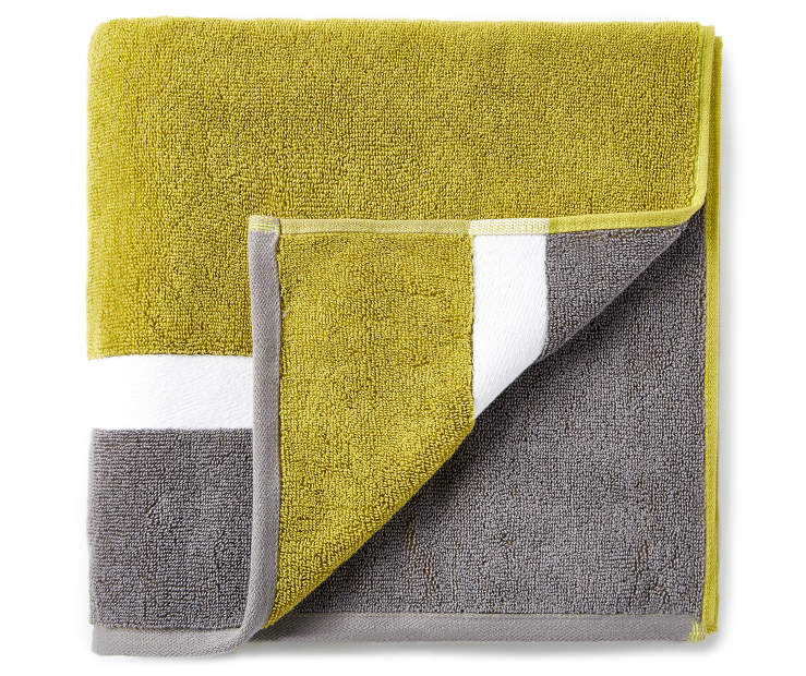 Green and Gray Reversible Bath Towel silo front