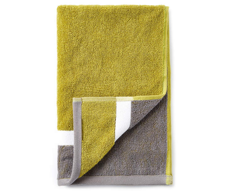 Green and Gray Reversible Hand Towel silo front