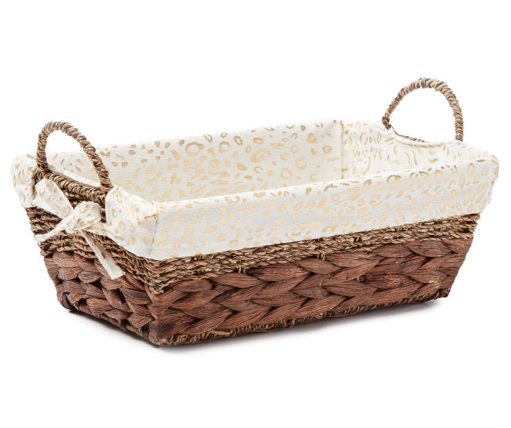 Half Size Brown Water Hyacinth Bin with Cheetah Print Liner silo front