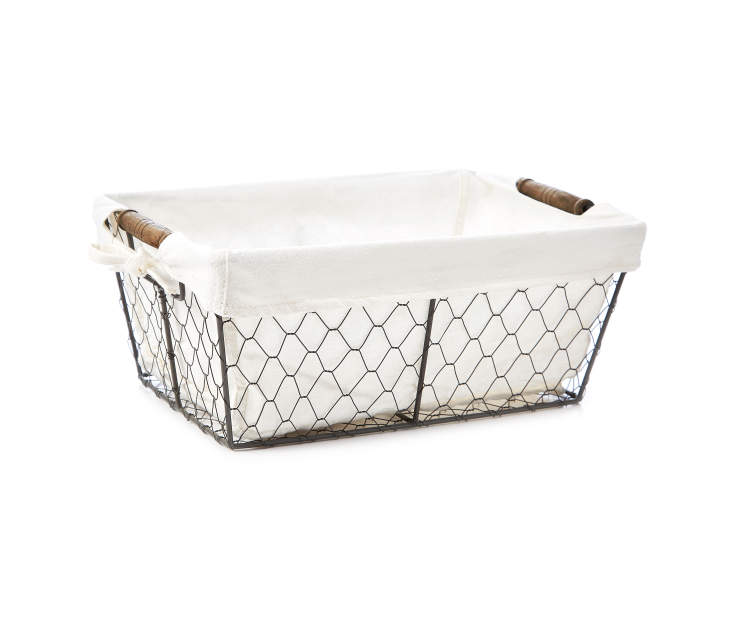 Half Size Gray Graphite Chicken Wire Storage Bin with Fabric Liner silo front