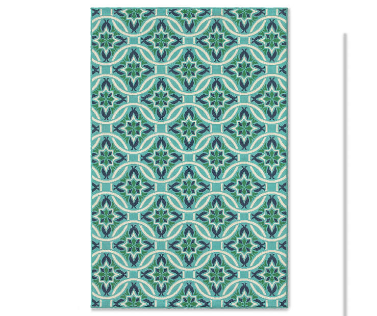 Halsey Blue and Green Indoor Outdoor Area Rug 7 feet 10 inch x 10 feet 10 inch silo front