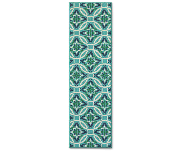 Halsey Blue and Green Indoor Outdoor Runner Rug 2 feet 3 inch x 7 feet 6 inch silo front