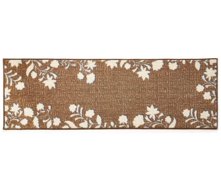Hamisi Floral Chocolate and White Accent Runner 1 feet 8 inch x 5 feet silo front