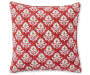 Hanska Red and Taupe Damask Outdoor Throw Pillow 17 inches by 17 inches Silo Image