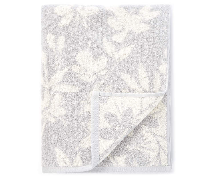 Harbor Gray Bath Flowers Double Jacquard Towel silo front