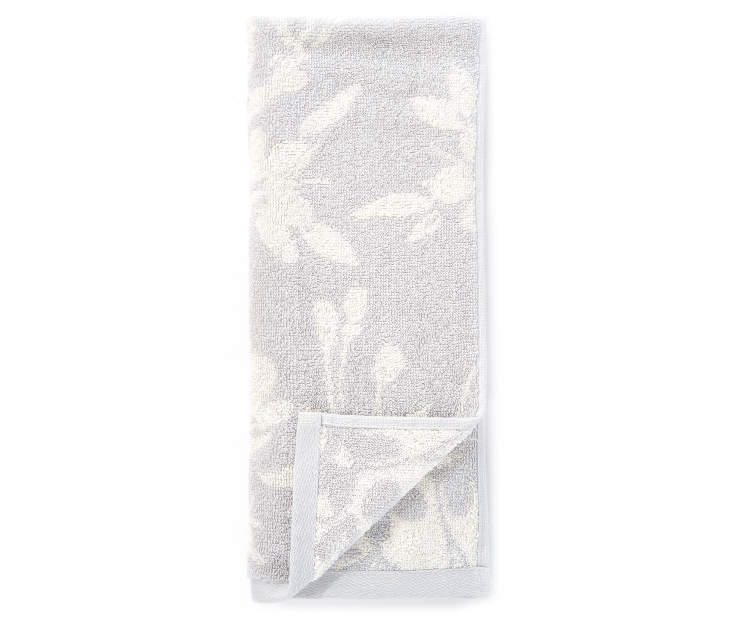 Harbor Gray Flowers Double Jacquard Hand Towel silo front