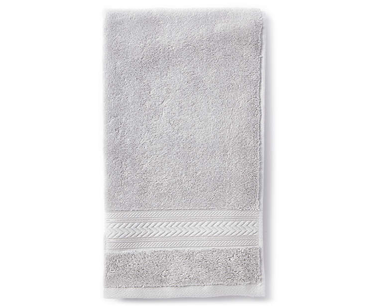 Harbor Gray Hand Towel Folded Overhead View Silo Image