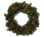 Hardneedle Pinecone Wreath 24 Inches Diameter made with pine branches and pinecones overhead view silo image