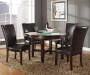 Hartford Brown Faux Leather Parsons Dining Chairs with Table Lifestyle