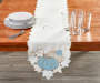 Harvest Cottage Cutwork Table Runner 13 Inches by 70 Inches On Table with Props Room Environment Lifestyle Image