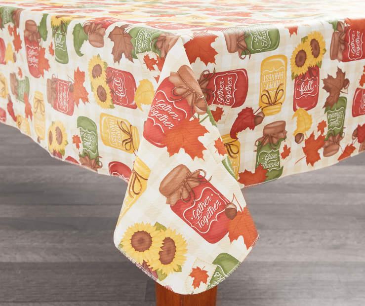 harvest mason jars vinyl tablecloths kitchen linen collection big lots. Black Bedroom Furniture Sets. Home Design Ideas