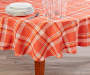Harvest Orange Plaid Round Tablecloth 60 inch lifestyle on table