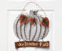 Harvest Welcome Fall Metal Pumpkin Hanging Wall Decor Close Up on Door