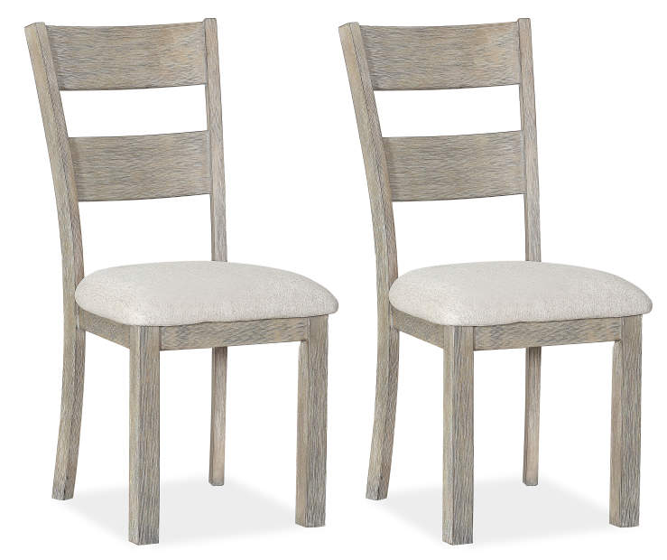 Hayden Gray Wire Brush Dining Chairs 2 Pack Silo Angled View Two Chairs