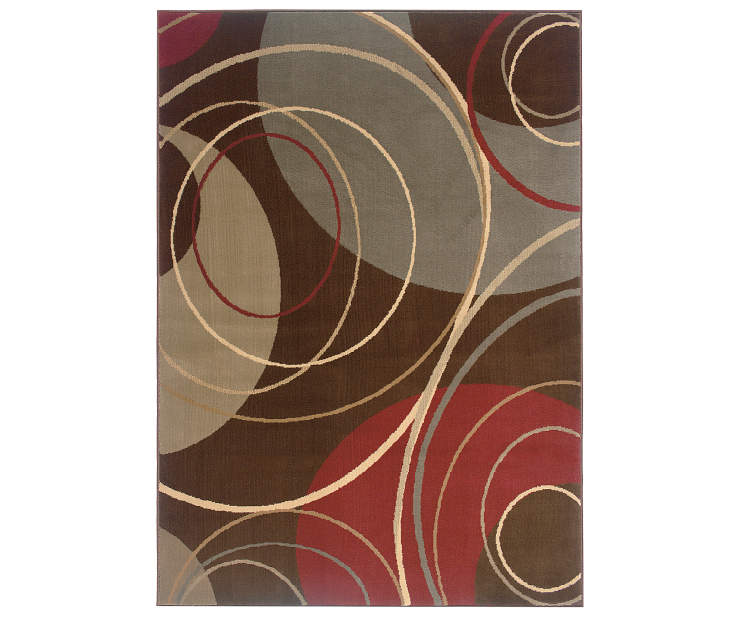 Helton Brown Area Rug 3 Feet 2 Icnhes by 5 Feet 7 Inches Overhead View Silo Image