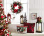 Holiday Cozy Decor Collection with pillows, christmas tree with ornaments, lanterns, reindeer decor, buffalo check wreath and tabletop tree Living Room Setting Environment Image