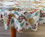 Holiday Patchwork PEVA Round Tablecloth 60 inch lifestyle