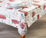 Holiday Red Truck Fabric Tablecloth 60 inch x 84 inch lifestyle