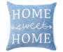 Home Sweet Home Blue Jacquard Throw Pillow 18 inch x 18 inch silo front