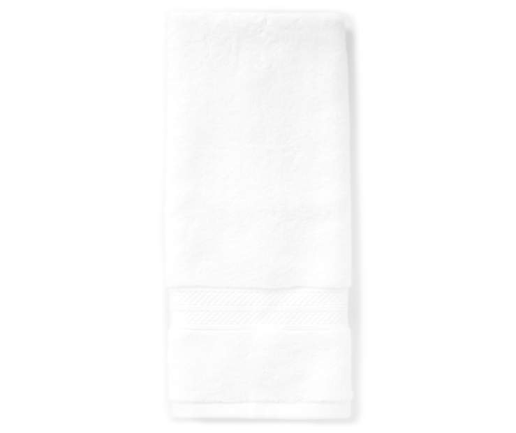 Hotel Bright White Hand Towel Silo Image Overhead View