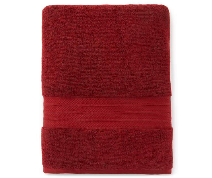 Hotel Cabernet Red Bath Towel Silo Image Overhead View